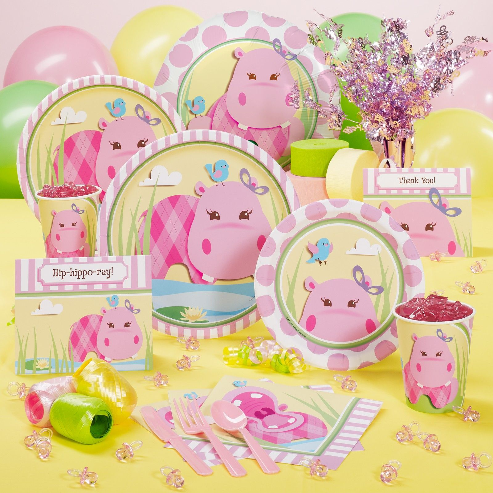 Great @Jennifer Hryb Pink Hippo Party Supplies · Baby Shower ...