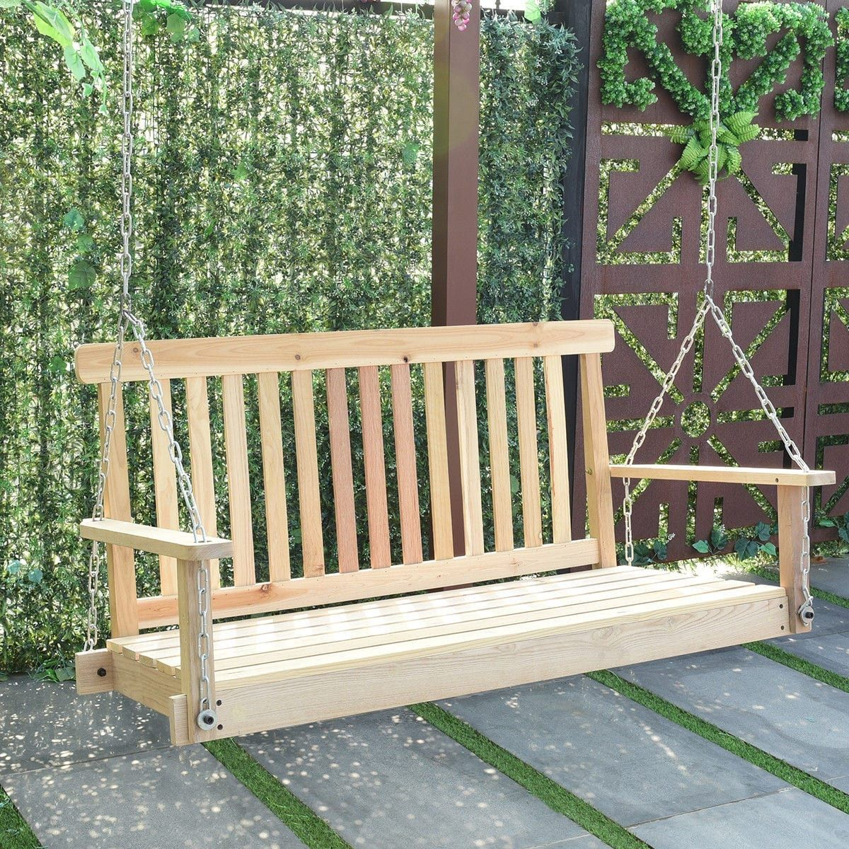 Excellent Costway 4 Ft Porch Swing Natural Wood Garden Swing Bench Caraccident5 Cool Chair Designs And Ideas Caraccident5Info