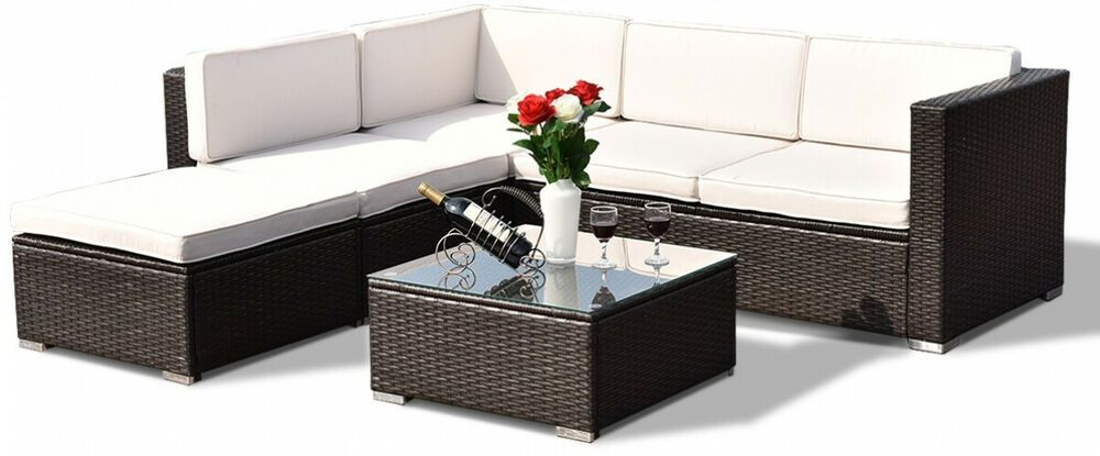4pc Patio Furniture Clearance Set Garden Rattan Sofa Table Cushioned Wicker Seat Homefurnitures Furniture Furnituredesi In 2019 Patio Furniture Cushions Patio Wicker Patio Furniture