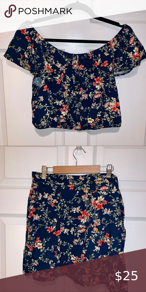 Off the shoulder crop top with matching skirt
