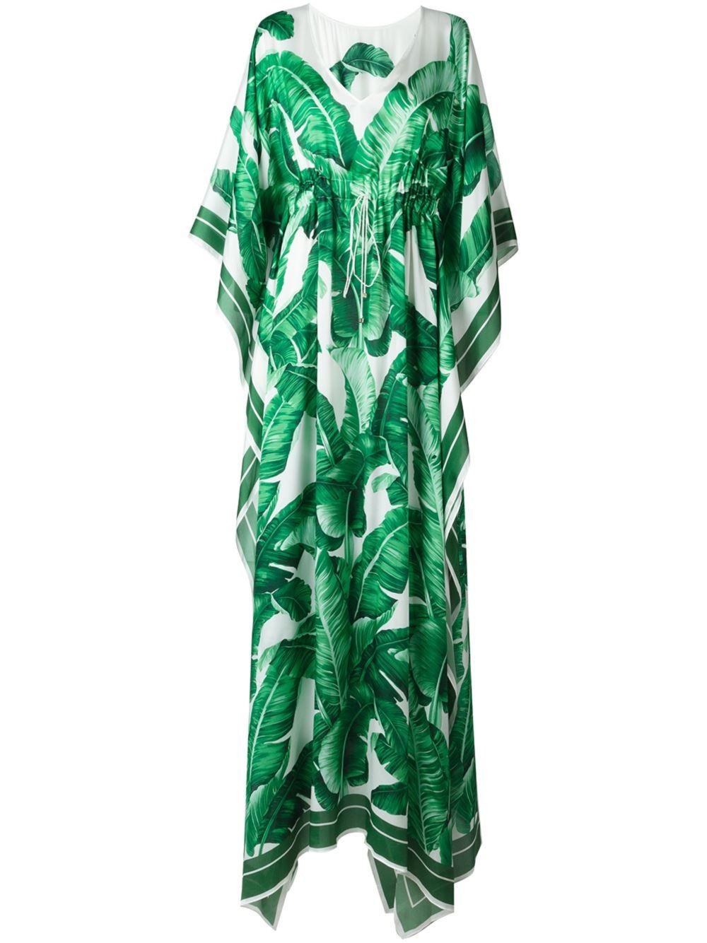 1ca5bbea8a3 Dolce   Gabbana banana leaf print kaftan dress