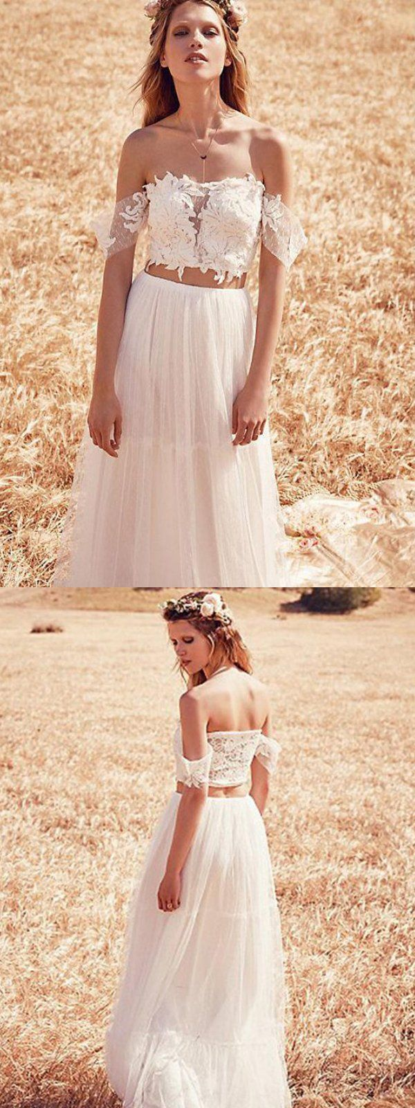 Two piece white offtheshoulder long lace wedding dresses cheap