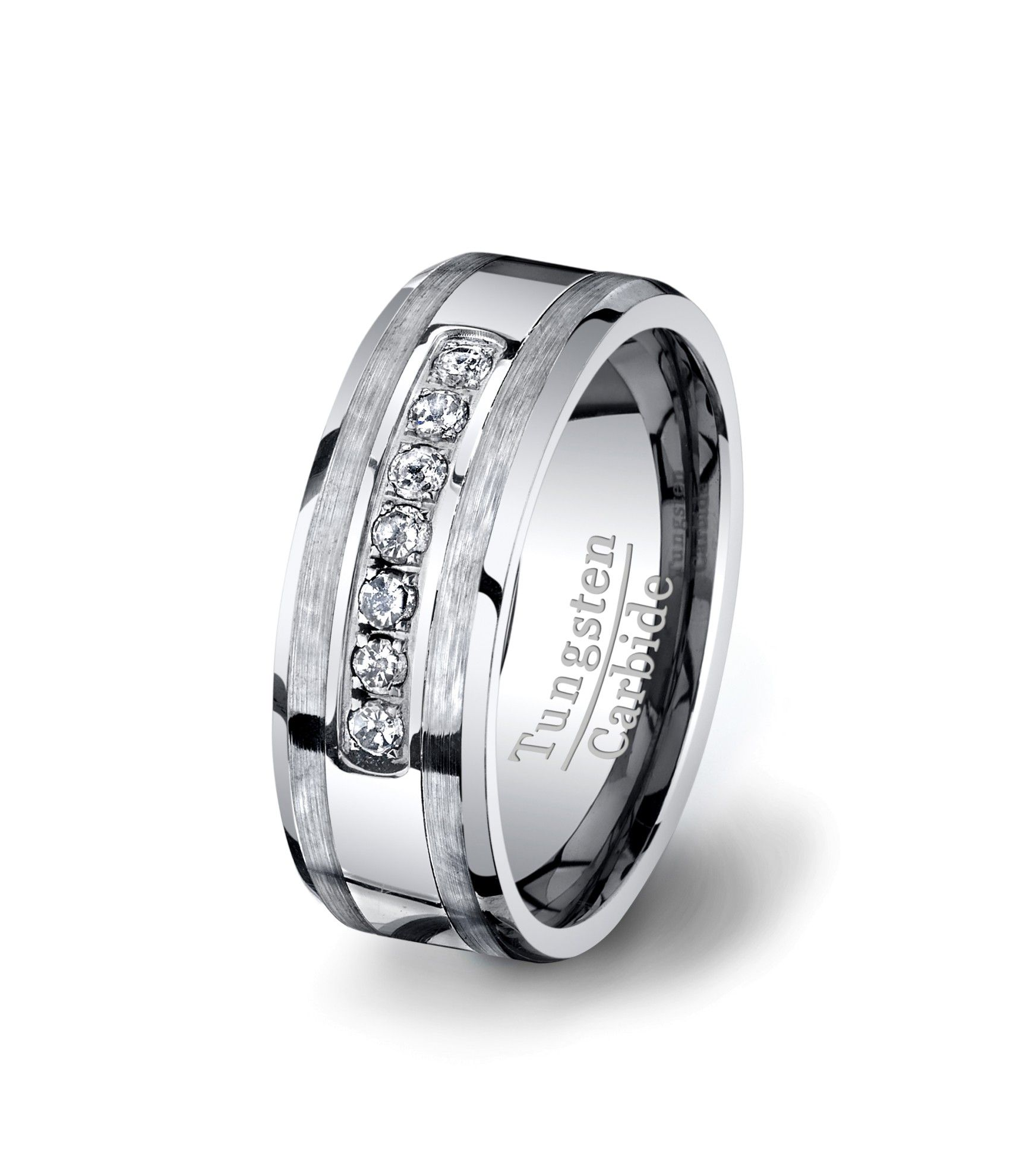 Mens Wedding Band Tungsten Carbide Ring With Brilliant Seven High End Cz Diamond Polish Brushed Satin Sides Gift For Him: Western Style Wedding Rings Tungsten At Websimilar.org