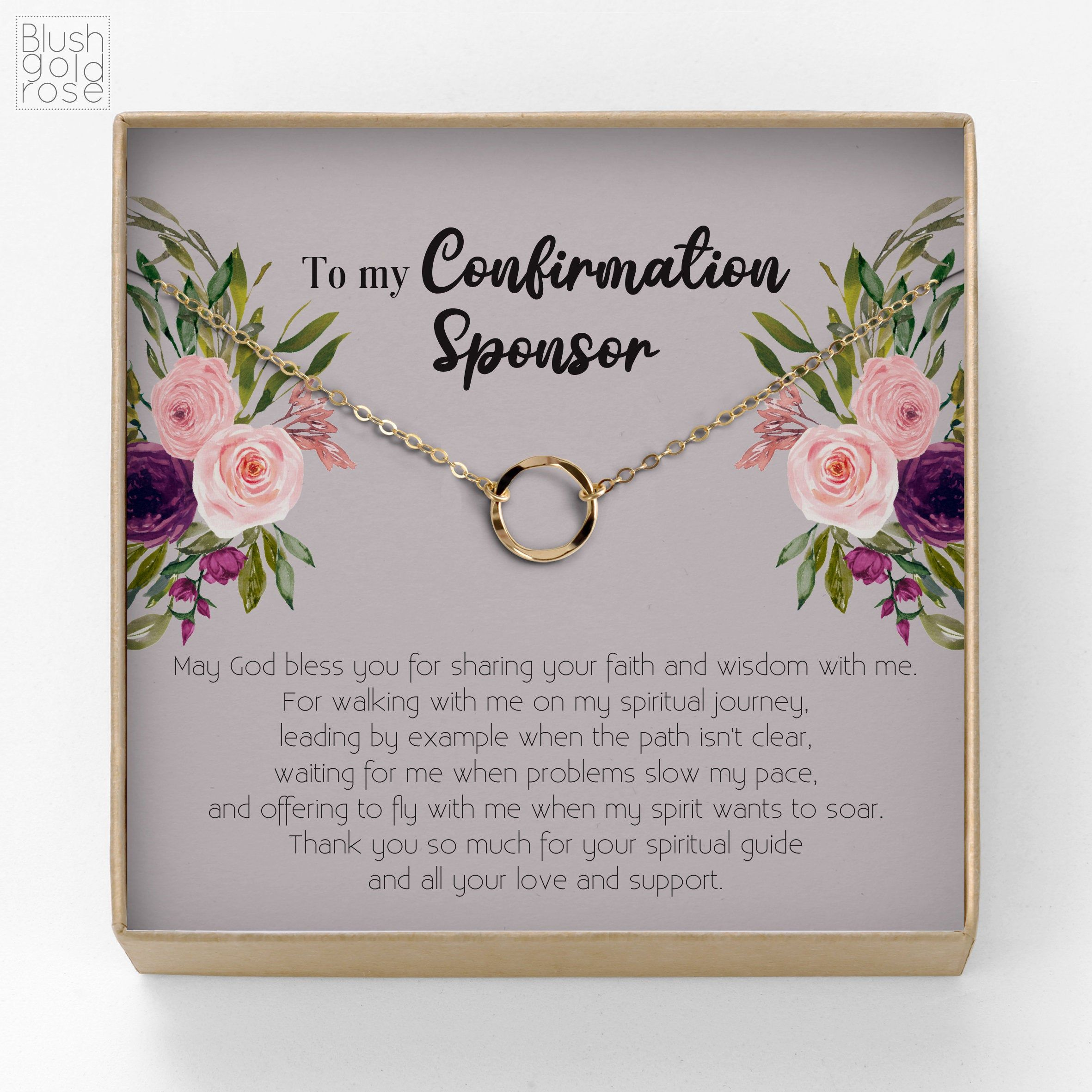 Confirmation sponsor gift open circle karma necklace