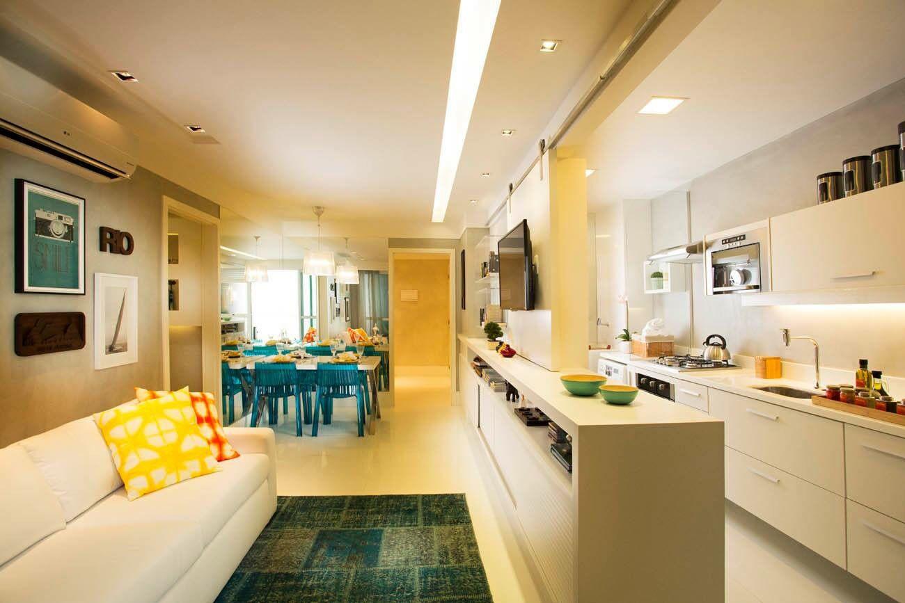 Living integrado com cozinha americana