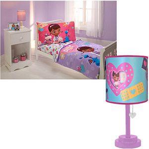 Superior Disney Doc McStuffins 4 Piece Toddler Bedding Set W/Table Lamp Bundle