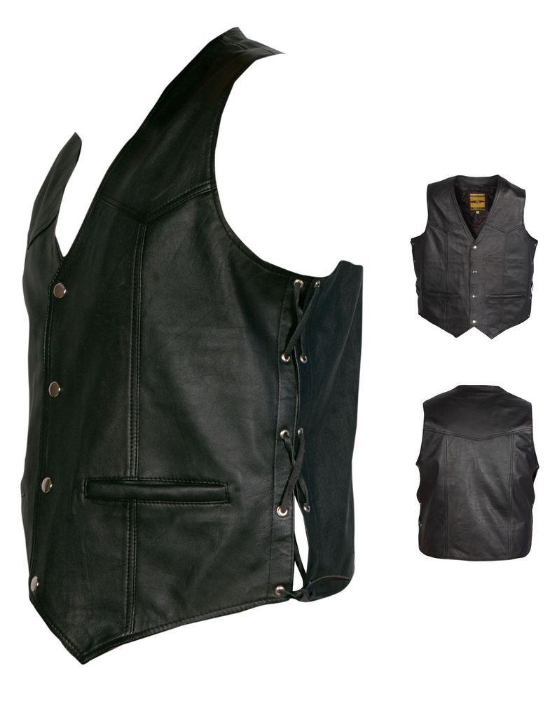 47 LEATHER WAISTCOAT  Biker Vest Motorcycle MotorBike Leather Vest/ Laced Up Sides