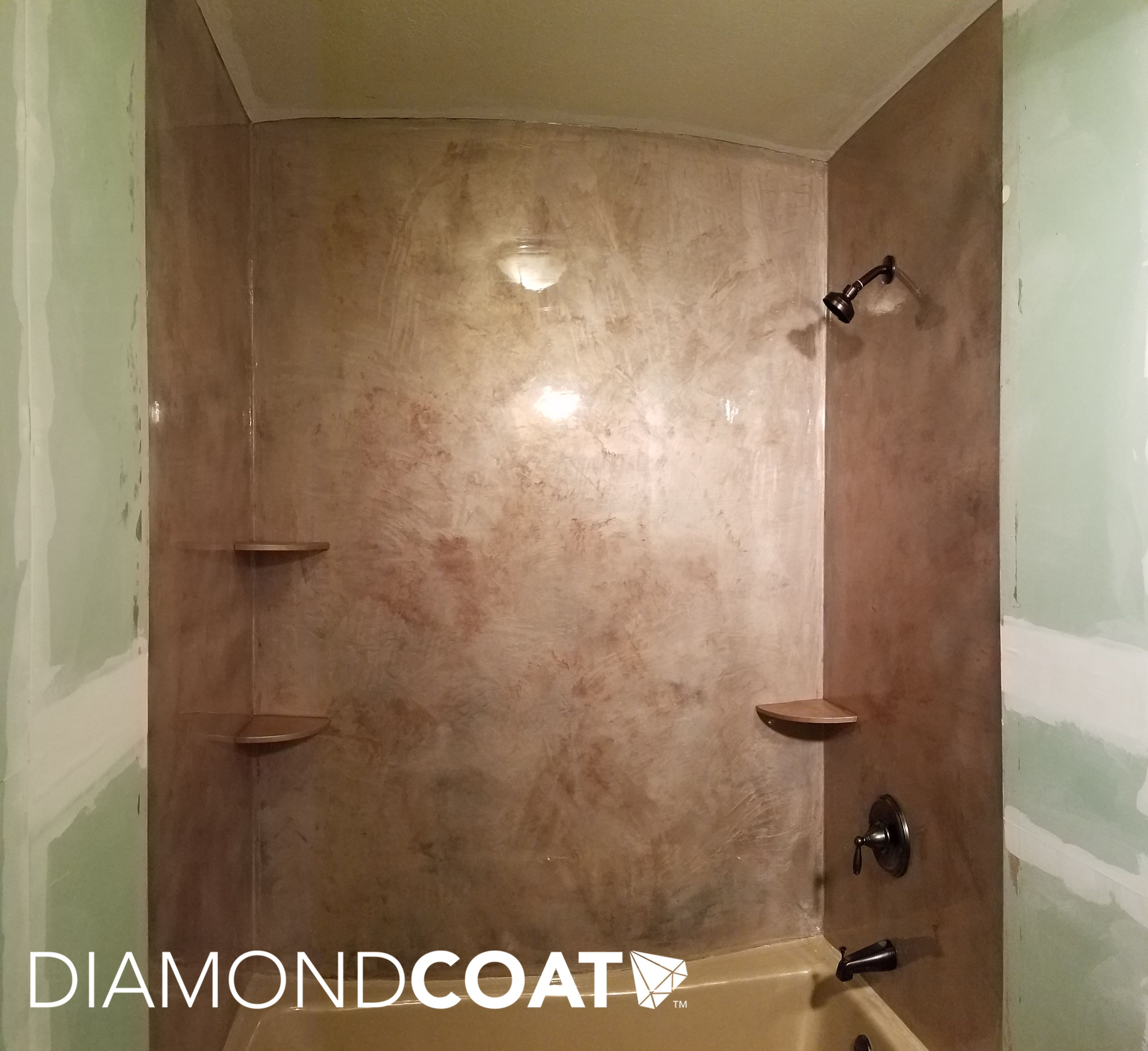 An Epoxy Shower Stall With No Grout Lines To Clean Love The Natural Stone Effect Marble Shower Walls Shower Wall Shower Surround