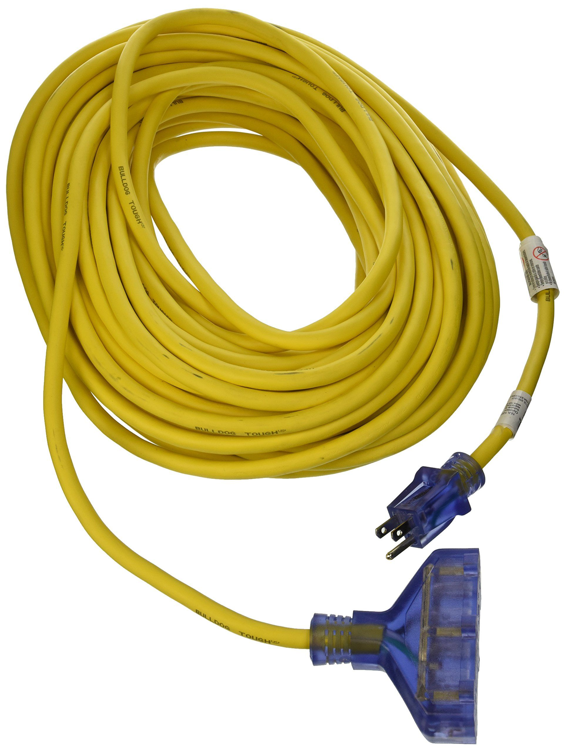 Prime Wire And Cable Lt611835 100foot 12 3 Sjtow Bulldog Tough Heavy Duty Tripletap Extension Cord With Extension Cord Outdoor Extension Cord Indicator Lights