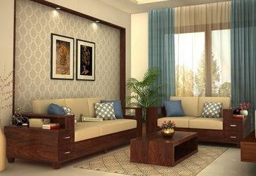 Solace Wooden Sofa 3 2 Walnut Finish Wooden Sofa Designs Living Room Sofa Design Wooden Sofa Set