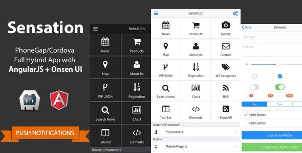 Sensation - PhoneGap/Cordova Full Hybrid App Angular Js, AngularJS