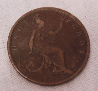 1887 British Half Penny by BelladeVintage on Etsy, $10.00