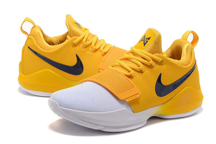 Purchase New Paul George Shoes 2018 PG 1 Indiana Pacers Home Gold White 7d7009722235