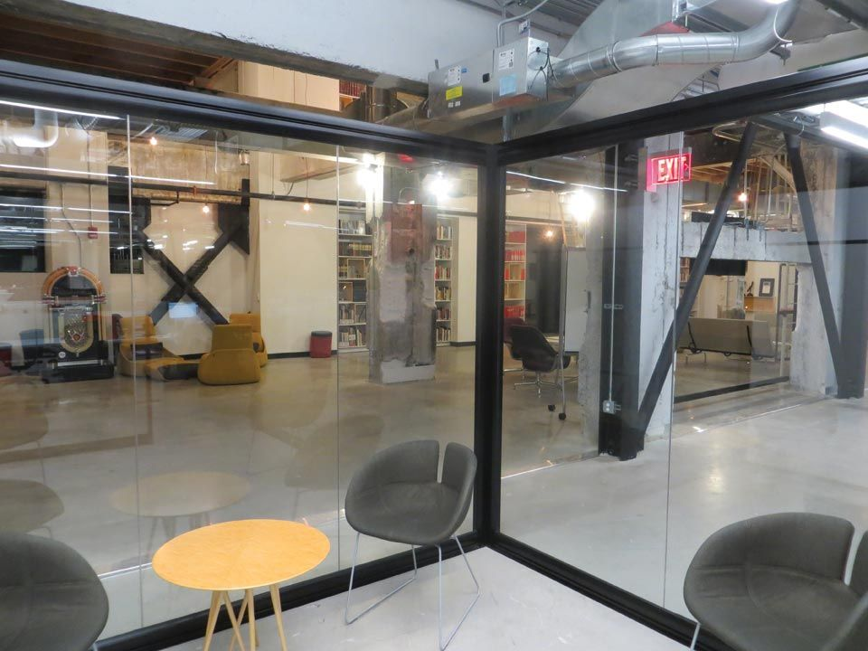 office and warehouse space. Sustainable Wall Systems For Open Concept Office - Warehouse Space Converted To Offices In Ford Field And