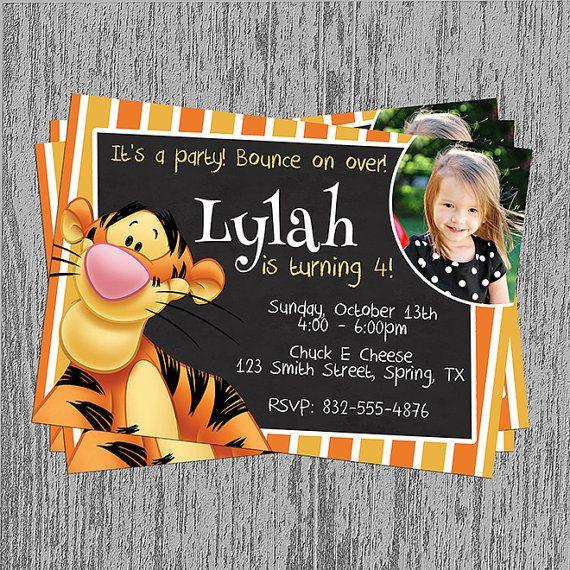 Tigger Birthday Invitation Digital File By Lastingmomentsdesign