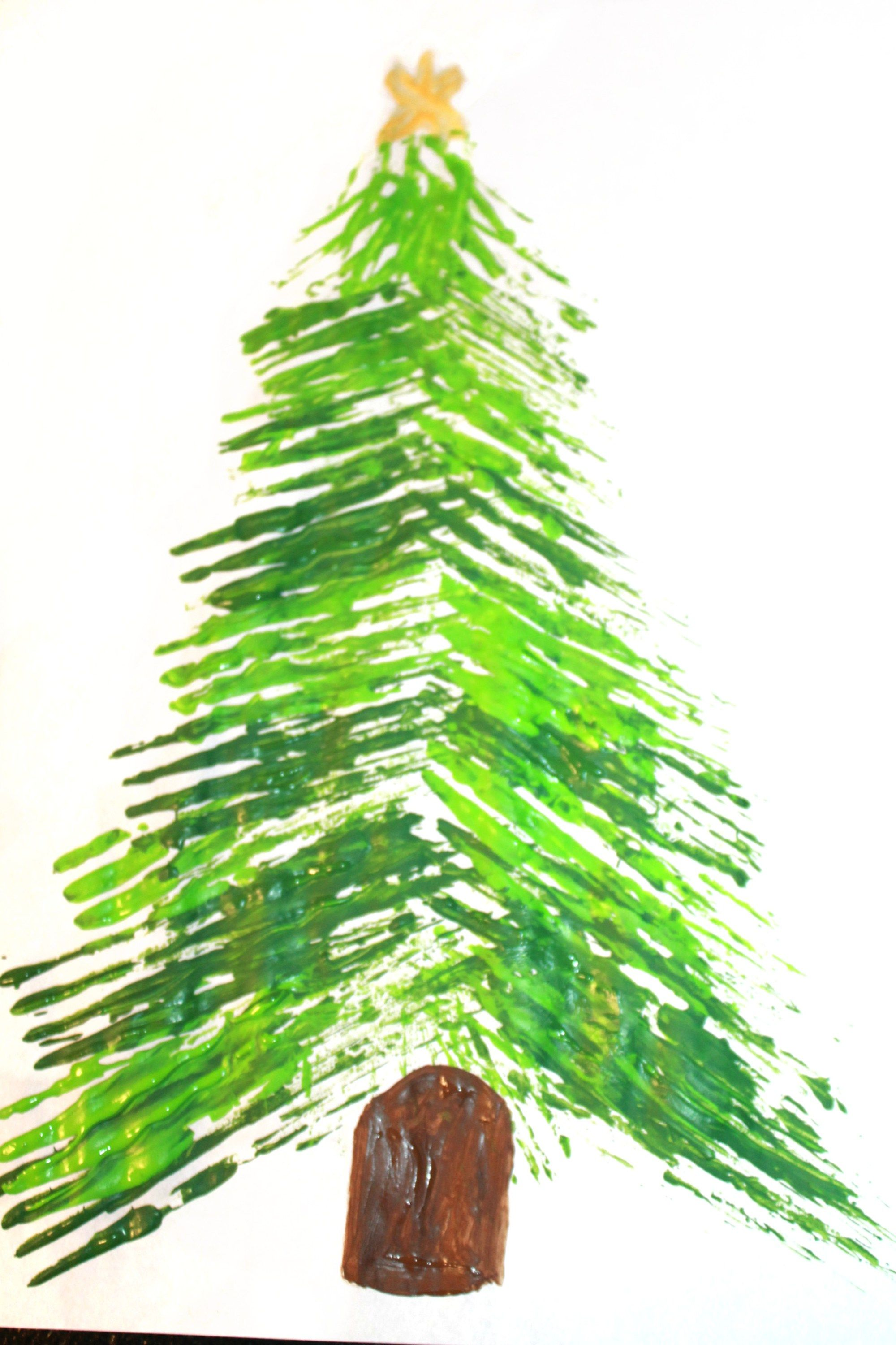 Fork Painted Christmas Tree With Images Christmas Tree Painting Christmas Tree Art Christmas Tree Cards