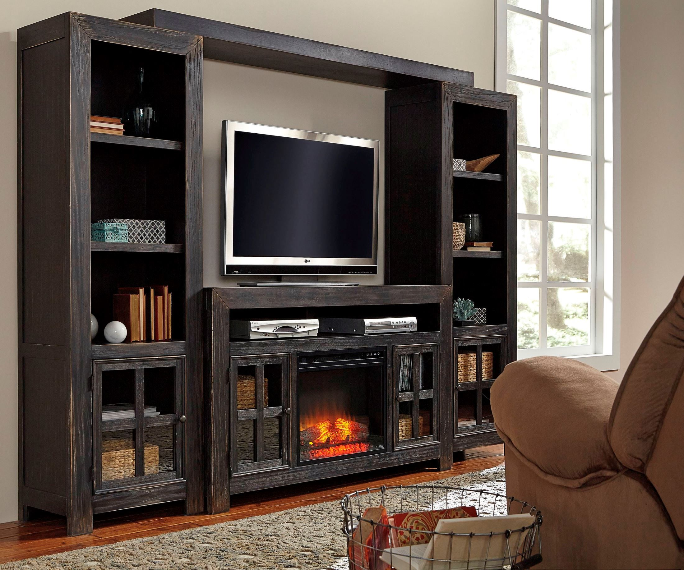 Wall Unit Entertainment Center With Fireplace