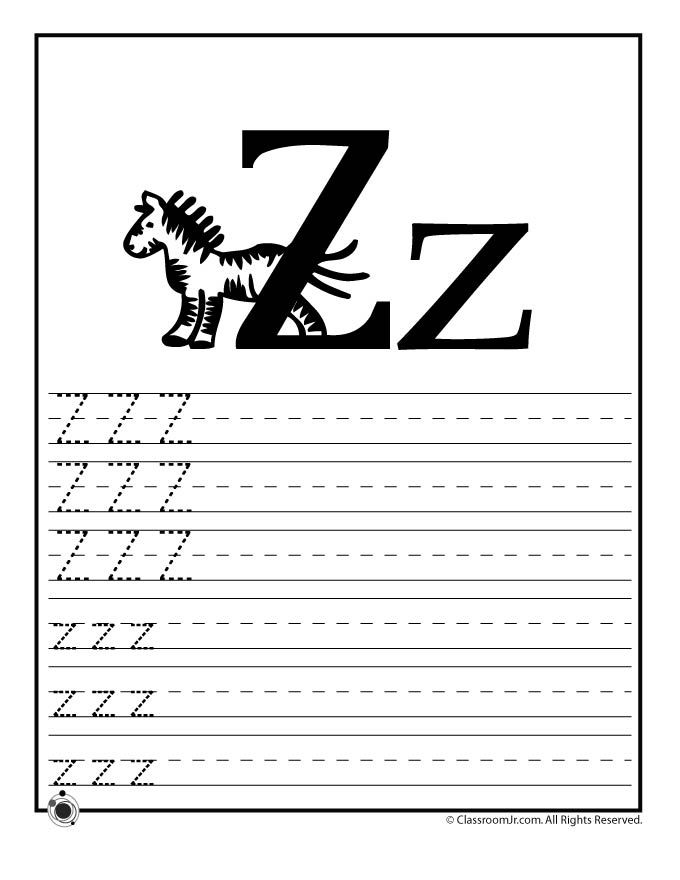 Learning ABCs Worksheets Learn Letter Z Classroom Jr – Letter Z Worksheet