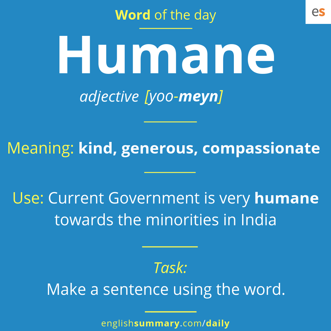 Humane Meaning, Pronunciation and Use in English | Word of