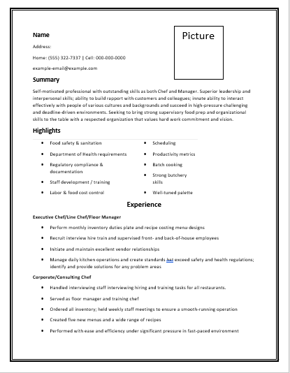 Chef Resume Template  Resume    Template