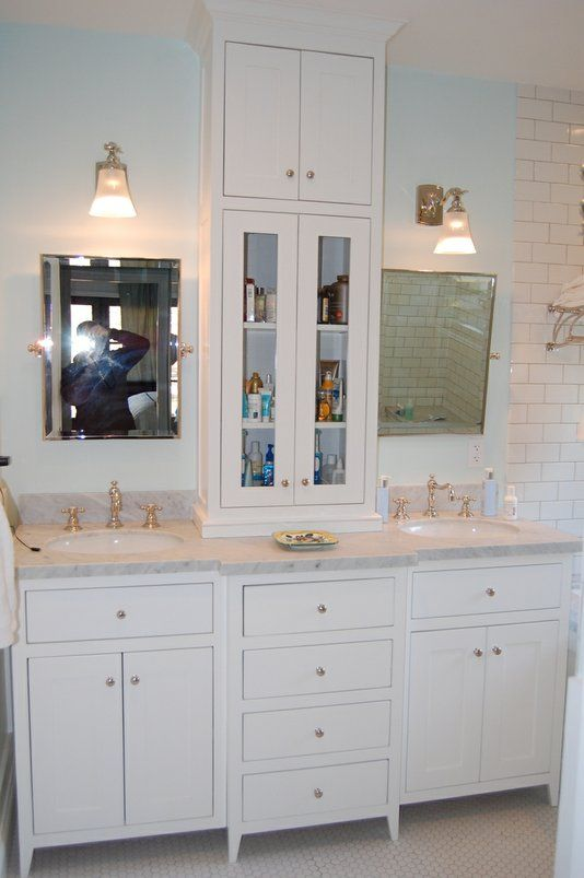 Custom Made Bathroom Vanity Cabinets. Custom Made White Bathroom Vanity With Tower Upgrade Idea For The Spare Bathroom If We Are There Long Enough
