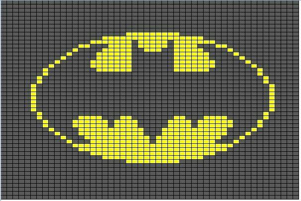 Batman Knitting Or Crochet Graph Chart For Cushion Or Blanket
