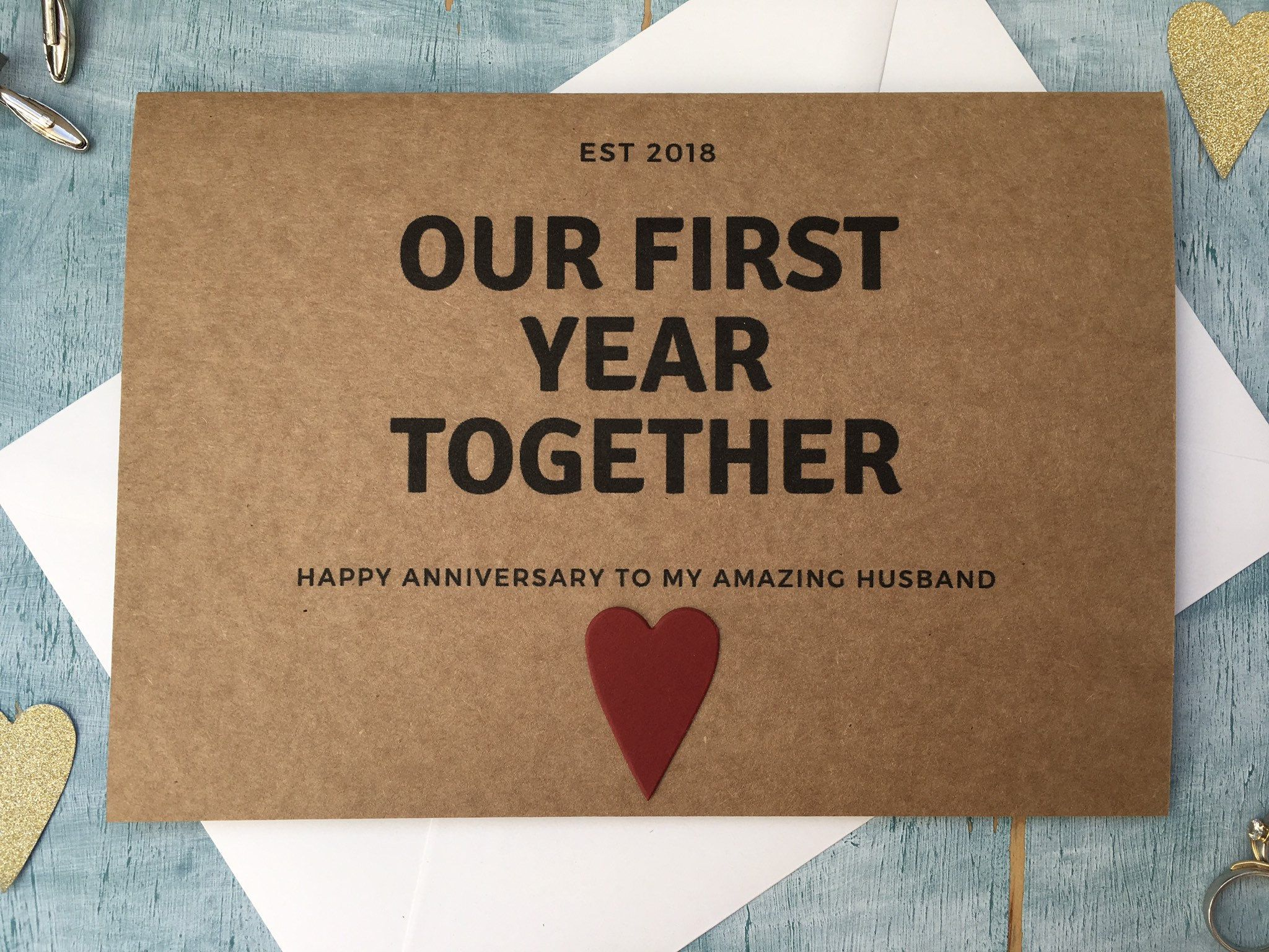 Our First Year Together 1st Anniversary Card Paper Wedding Etsy 1st Anniversary Cards Anniversary Cards First Wedding Anniversary