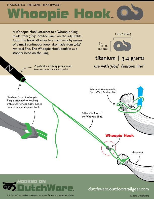 lightweight hammock hanging with a whoopie hook lightweight hammock hanging with a whoopie hook   hammock camping      rh   pinterest