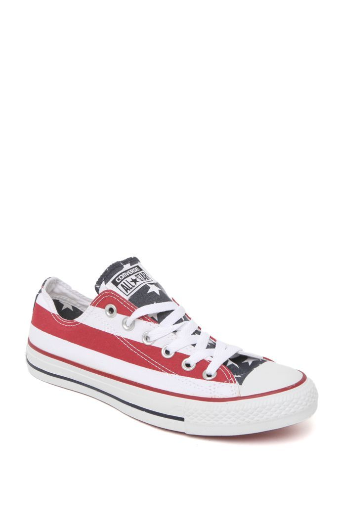 a7e4bc64e0a0 We love the women s Chuck Taylor All Star Stars   Bars Sneakers by Converse  for PacSun and PacSun.com! The sneakers have red