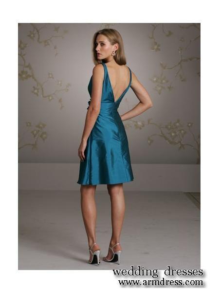 Knee length, low back bridesmaid dress