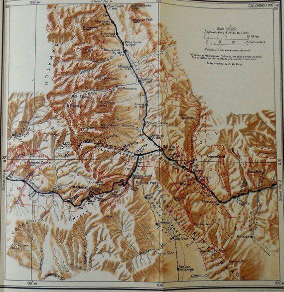 1922 Colorado Railroad Map Salida Wild Horse Pleasanton Marshall