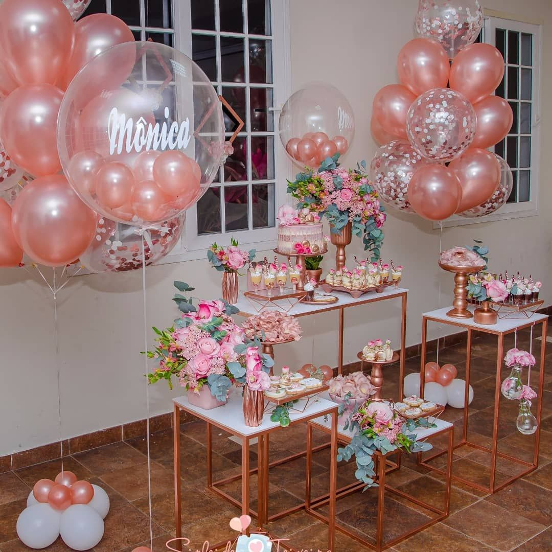 Rose Gold Quinceanera Inspiration For Your Quince Birthday Balloons Birthday Party Decorations Birthday Table Decorations