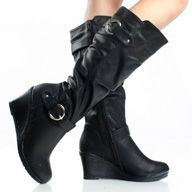 Black Knee High Wedge Boots Riding Motorcycle Tall Womens High Heels