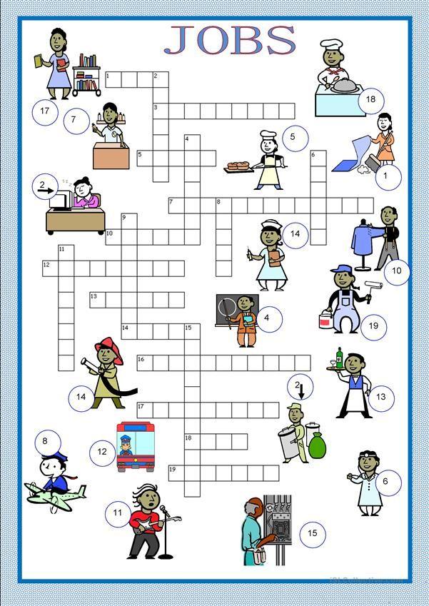 Crosswords jobs Exercícios de inglês, Pôsteres para