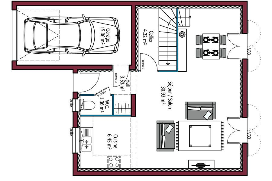 Modèle de maison Citadine (avec images) | Plan maison, Plan maison 3 chambres, Plan maison 90m2