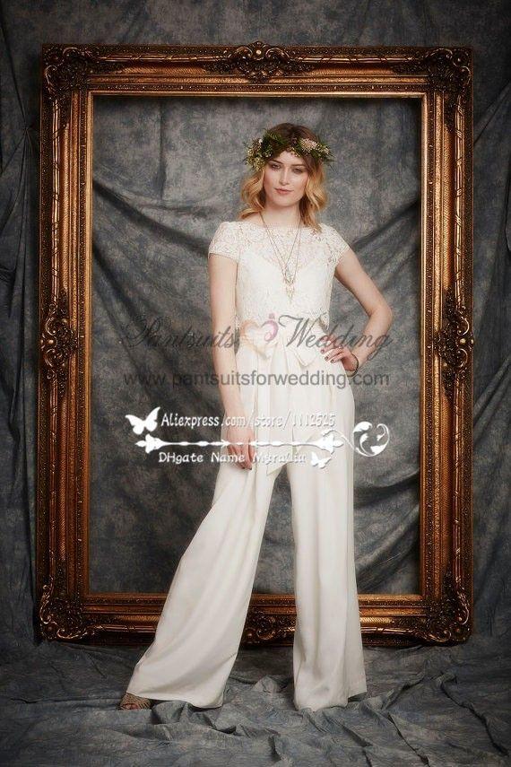 f80ba74fae67 Lvory Dressy Wedding jumpsuits dresses with Lace Vest BA-062 ...