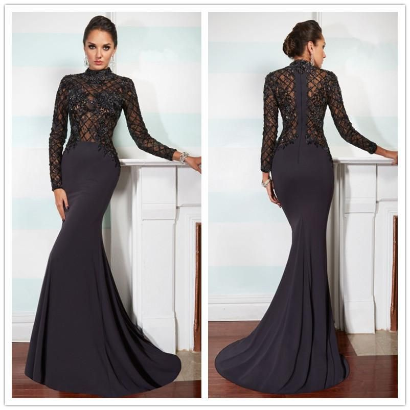 Black Lace Long Sleeve Prom Dress Photo Album - Reikian