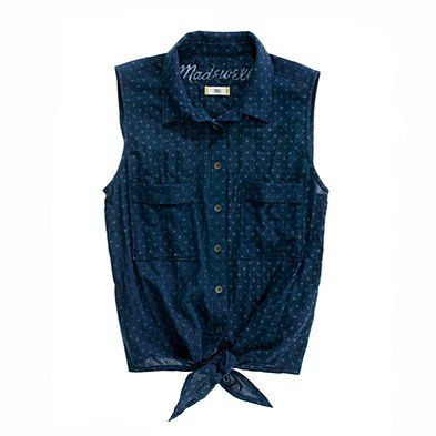 chambray sleeveless from madewell. paired with some daisy dukes... oh yeah.