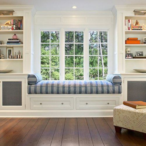 Built-in window seat and bookshelves