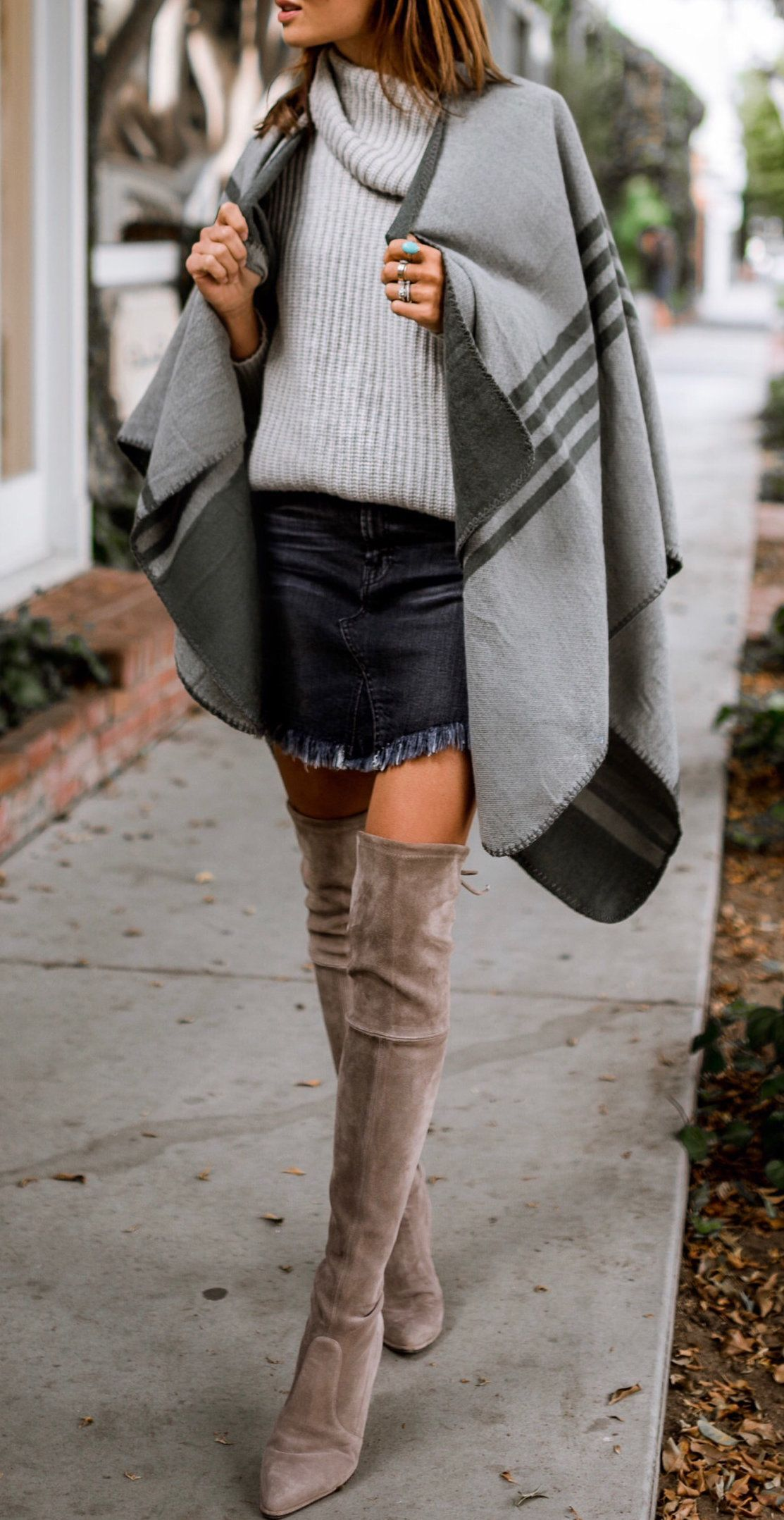 0f6cea9eb7f  winter  outfits women s gray knitted cowl-neck shirt and distressed blue mini  skirt outfit