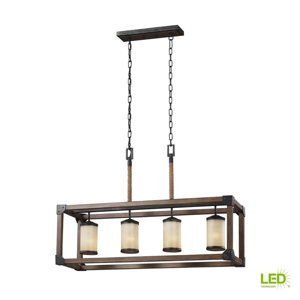 Sea Gull Lighting Dunning 36 In W 4 Light Weathered Gray And Distressed Oak Kitchen Island Light With Led Bulbs 6613304en3 846 The Home Depot Kitchen Island Lighting Sea Gull Lighting Island Lighting