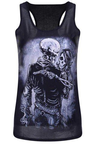 Trendy U Neck Sleeveless Skull Print Women's Tank Top