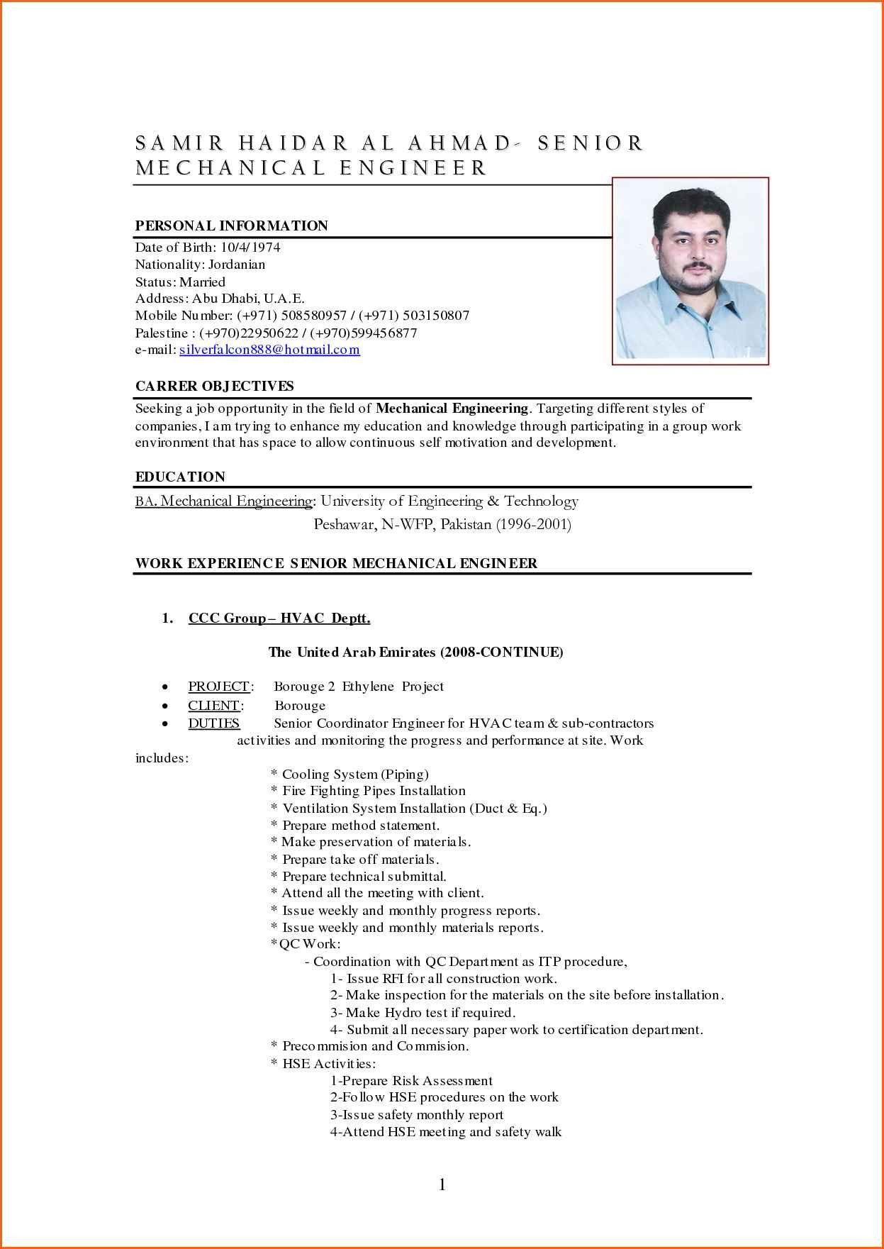 Mechanical Engineer Resume Sample Modern Resume format for