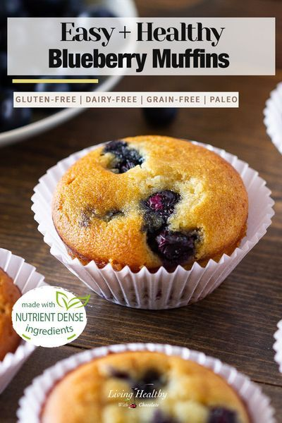 The best Paleo Blueberry Muffin recipe. These are loaded with fresh blueberries, and are soft and moist. So good and easy to make! (grain-free, gluten-free, dairy-free, low-carb). By #LivingHealthyWithChocolate #paleomuffin #paleoblueberrymuffin #paleodessert #bestpaleomuffin #glutenfreemuffin #glutenfreedessert #dairyfreerecipe #healthymuffinrecipe #grainfreemuffin #dairyfreemuffin #healthyrecipes #healthyblueberrymuffin #easymuffinrecipe #healthydessert #healthysnack #ketodesserts #ketosnack