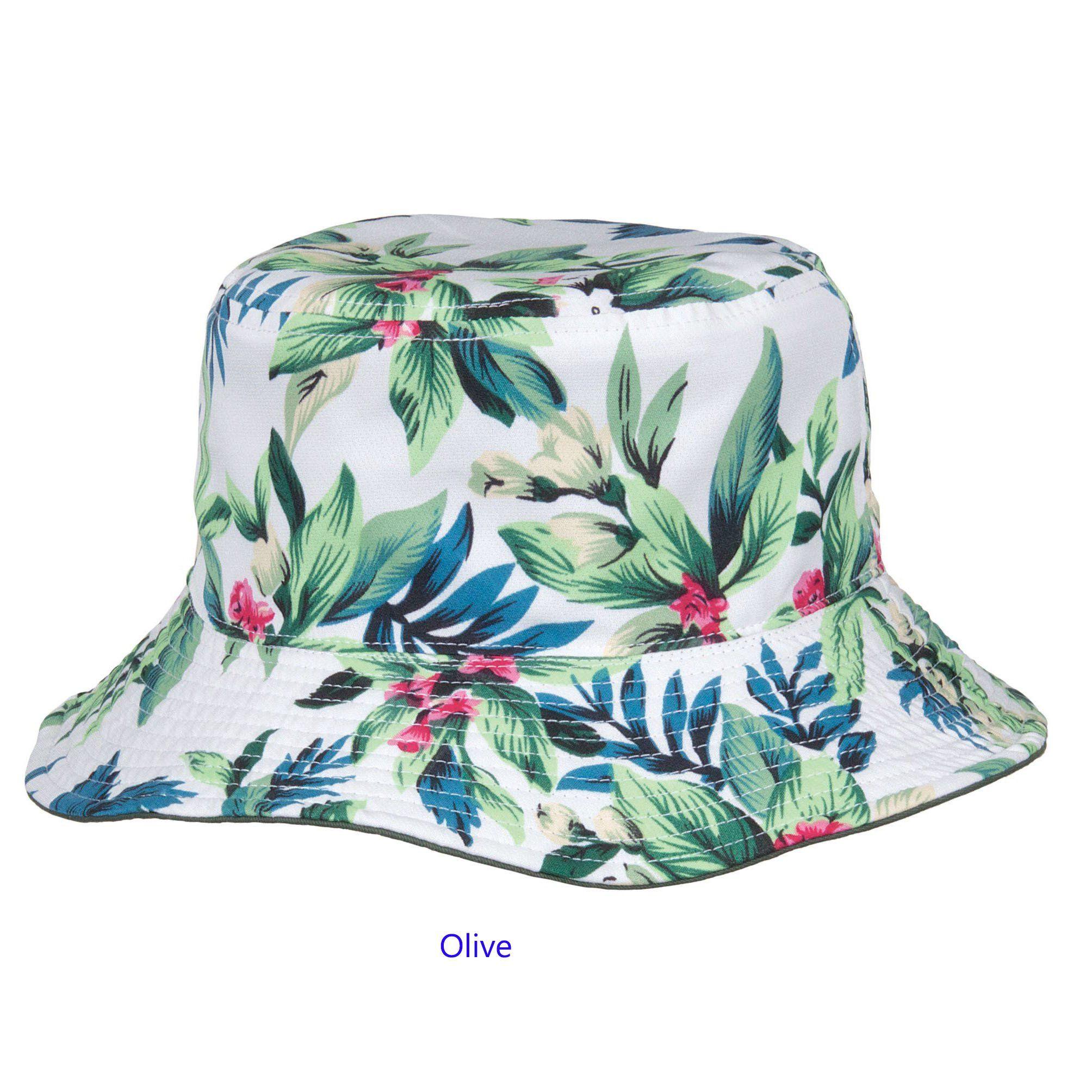 Bucket Hat Hawaiian Floral Men/'s Women/'s Fashion Rave Festival BLACK 100/% Cotton