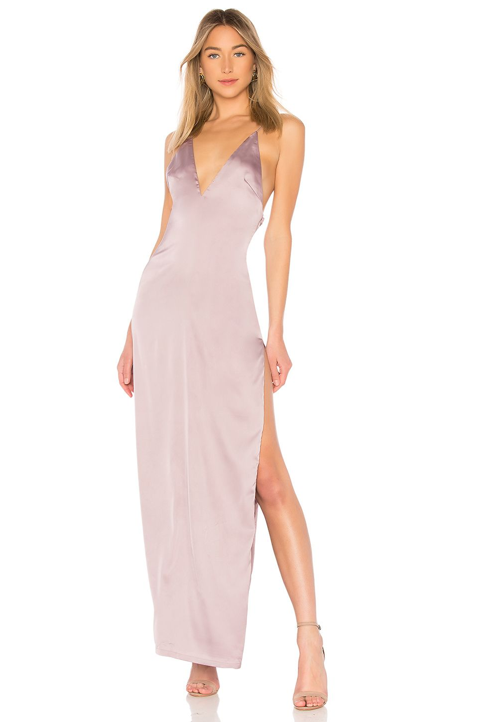 7e3f27c3522c This maxi slip-style dress is both classic and flirty with its plunging  neckline
