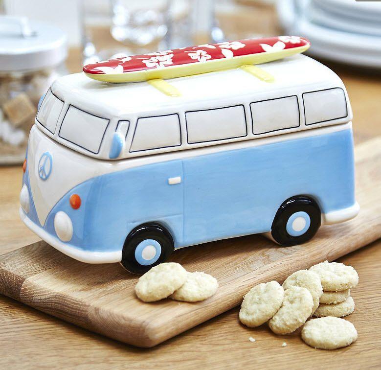 VW Camper Van Biscuit Jar Volkswagen Ceramic Bug Cookie Jar Type 2 Collectable