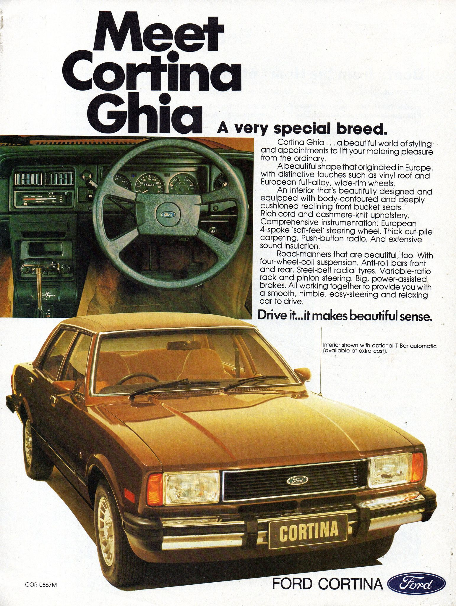 1977 TE Ford Cortina Ghia MkIV Sedan Aussie Original Magazine Advertisement