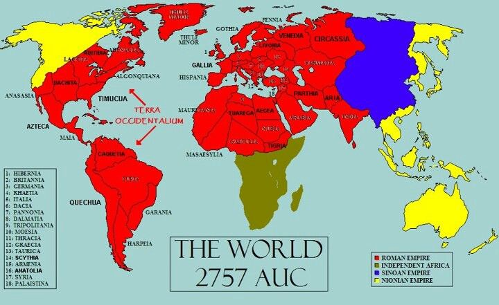 Map Of The World If The Roman Empire Had Never Ended