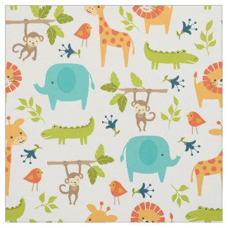 Cute Jungle Animal Fabric Featuring Little Giraffes Elephants Alligatoronkeys On Branches Coordinating Fabrics Available In The